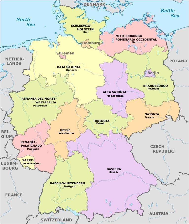 Mapa De Alemania Ciudades.Mapa De La Republica Federal De Alemania