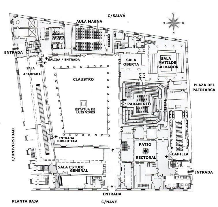 Universidad de valencia la nau for Plantas de colegios arquitectura